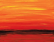 Red Sunset Painting Framed Prints - Ruby Shore - Red And Orange Abstract Framed Print by Sharon Cummings