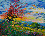 Impasto Oil Paintings - Ruby Tree Ablaze by Michael Gross