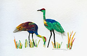 Cranes Mixed Media Prints - Ruby Valley Sandhill Cranes Print by Shirley Robinett