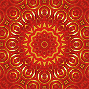 Repeat Patterns Digital Art Posters - Ruby Poster by Wendy J St Christopher
