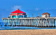 Huntington Prints - Rubys Surf City Diner - Huntington Beach Pier Print by Jim Carrell