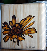 Wood Art Block Originals - Rudbeckia Pyrography Art Block by Penny Hunt