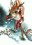 Christmas Card Mixed Media Metal Prints - Rudolf Metal Print by Joy Bradley                   DiNardo Designs