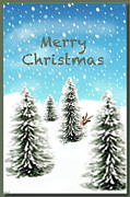 Rudolph Mixed Media Prints - Rudolph Merry Christmas Print by Debra     Vatalaro