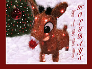Rudolph Mixed Media Prints - Rudolph Reindeer Card Print by Debra     Vatalaro