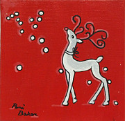 Rudolph Painting Prints - Rudolph the Red Nose Raindeer Print by Peni Baker