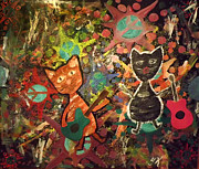 Rudy And Sketch Electric Cats Print by Yvonne  Kroupa