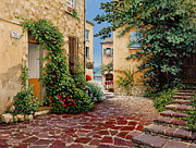 Provence Village Painting Prints - Rue Anette Print by Michael Swanson