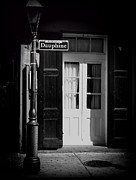 French Doors Prints - Rue Dauphine French Quarter New Orleans-monochrome Print by Kathleen K Parker