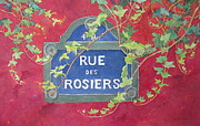 Vine Paintings - Rue des Rosiers in Paris by Mary Ellen  Mueller-Legault
