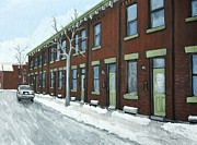 Snow Scenes Painting Prints - Rue Grand Trunk Pointe St. Charles Print by Reb Frost