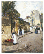 Montmartre Paintings - Rue Montmartre by Childe Hassam