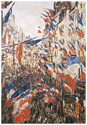 Parade Painting Prints - Rue Montorgeuil Decked with Flags Print by Claude Monet