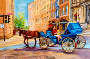 Montreal Cityscapes Paintings - Rue Notre Dame Caleche Ride by Carole Spandau