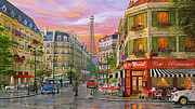 Paris Digital Art Posters - Rue Paris Poster by Dominic Davison
