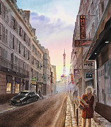 Paris Paintings - Rue Saint Dominique Sunset Through Eiffel Tower   by Irina Sztukowski