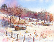 Ruff Painting Metal Prints - Ruff Creek Winter Metal Print by Leslie Fehling
