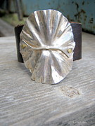 Sterling Silver Bracelet Art - Ruffled Leather by April  Russell