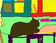 Olive Green Drawings Posters - Rufus on the Kitchen Table Poster by Anita Dale Livaditis