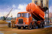 Transportart Originals - Rugby Cement Thornycroft. by Mike  Jeffries