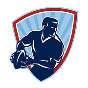 Player Digital Art - Rugby Player Passing Ball Shield Retro by Aloysius Patrimonio