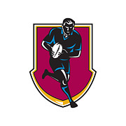 Rugby League Metal Prints - Rugby Player Running Passing Ball Retro Metal Print by Retro Vectors