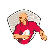 Rugby Union Posters - Rugby Player Running With Ball Retro Poster by Retro Vectors