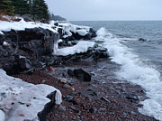 Rugged Shore Winter Print by James Peterson