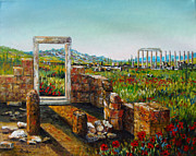 Archeology Paintings - Ruined City with Poppies by Lou Ann Bagnall
