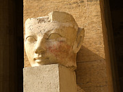 Temple Of Hathor Metal Prints - ruined head of Hatshepsut Metal Print by Brenda Kean