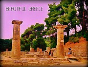 Columns Of Greece Framed Prints - Ruins at Olympus Greece Framed Print by John Malone