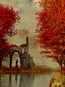 Autumn Art Digital Art Posters - Ruins in Autumn Fog Poster by Daniel Eskridge