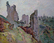 Crozant Framed Prints - Ruins in the Fog at Crozant Framed Print by Jean Baptiste Armand Guillaumin