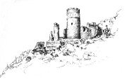 Fantasy Drawings - Ruins of Furstenburg Castle by Sam Sidders