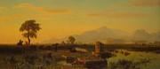 Italian Sunset Painting Posters - Ruins of Paestum Poster by Albert Bierstadt