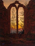Caspar Framed Prints - Ruins of the Oybin Monastery The Dreamer Framed Print by Caspar David Friedrich