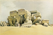 Columns Painting Metal Prints - Ruins of the Temple of Kom Ombo Metal Print by David Roberts