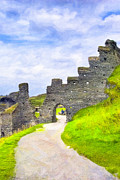 Cornwall Digital Art Prints - Ruins of Tintagel Castle - Cornwall Print by Mark E Tisdale