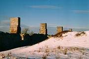 David Fiske Acrylic Prints - Ruins with Snow and Blue Sky Acrylic Print by David Fiske