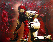 Catcher Painting Prints - Ruiz Print by Bobby Zeik