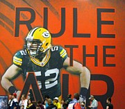 Green Bay Prints - RULE THE AIR  Clay Matthews Print by Donna Wilson