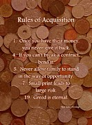 Coins Mixed Media Posters - Rules of Acquisition - Part 1 Poster by Anastasiya Malakhova