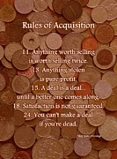 Coins Mixed Media Posters - Rules of Acquisition - Part 2 Poster by Anastasiya Malakhova
