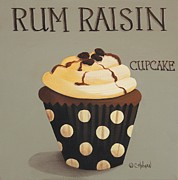 Folk Art Paintings - Rum Raisin Cupcake by Catherine Holman