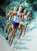 Action Sports Artist Paintings - Run For Gold by Hanne Lore Koehler