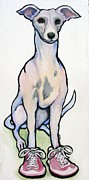 Whippet Painting Prints - Run Spot Run Print by Darlene Grubbs