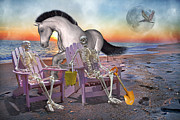Human Skeleton Digital Art - Run with Me by Betsy A Cutler East Coast Barrier Islands