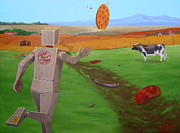Splat Paintings - Runaway Pizza by Charles Fennen
