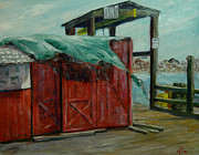 Maine Seacoast Paintings - Runaway Tarp by Aline Lotter