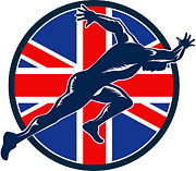 Male Athlete Posters - Runner Sprinter Start British Flag Circle Poster by Aloysius Patrimonio